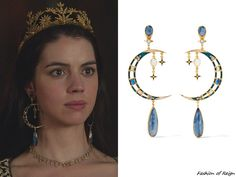 "fashion-of-reign: ""In the series finale (""All It Cost Her…"") Queen Mary wears these sold out Percossi Papi Gold-Plated Multi-Stone Earrings. Worn with a Reign Costumes custom dress, Christie Nicolaides tiara. Jewelry For Her, Cute Jewelry, Jewelry Accessories, Jewelry Design, Moonstone Earrings, Chain Earrings, Bridal Earrings, Moon Earrings, Mary Stuart"