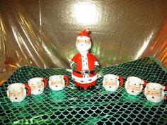 Vintage Lefton Santa Decanter & Mini Mugs Cups Japa #1383 10 mugs shot cordial