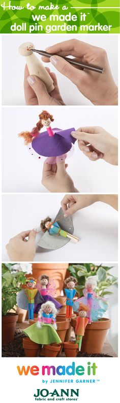 DIY Clothespin Dolls // Find kids craft ideas with We Made It by Jennifer Garner Summer Crafts, Fun Crafts, Crafts For Kids, Kid Art, Art For Kids, Toothpick Crafts, Flower Press Kit, Clothes Pegs, Clothespin Dolls