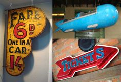 great vintage signage picks inspired by American Pickers Mike and Frank, including a sign that once hung at Coney Island and part of a Rocket Ride