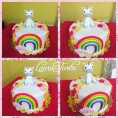 Unicorn and rainbow cake fondant
