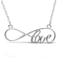 Allurez Women's Script Love Infinity Pendant Necklace 14k White Gold ($280) ❤ liked on Polyvore featuring jewelry, necklaces, accessories, bijoux, white, white gold infinity necklace, pendant chain necklace, pendant necklaces, white gold jewelry and 14 karat white gold necklace