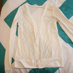 White and lace top Have never worn this! Open to offers Tops Button Down Shirts