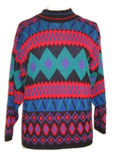 Vintage 1980s Glamour-Knit Colorful Ladies Pullover Free US Shipping by GoodBuyForNow on Etsy