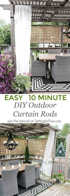 Learn how to make and hang these easy DIY outdoor curtain rods in just 10 minutes! Simple tutorial and supply list included. Bonus: these outdoor bamboo curtain rods won't rust or rot! Hang outdoor drapes in a jiffy with this clever outdoor curtain rod hack to decorate your gazebo or porch. Turn your home's exterior into a breezy, beautiful oasis!