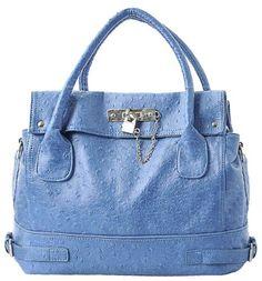 64b4e5f932e Blue Chic Office Tote Soft Leatherette Embossed Ostrich Double Handle Satchel  Handbag Shoulder Bag w