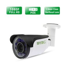 SV3C 1080P Full HD Poe IP Camera, Bullet Outdoor Security Camera with 2.8MM-12MM Varifocal Lens