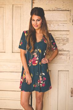 Dottie Couture Boutique - Emerald Floral Tunic Dress, $46.00 (http://www.dottiecouture.com/emerald-floral-tunic-dress/)