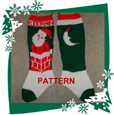 Santa In Chimney Christmas Stocking Knitting Pattern