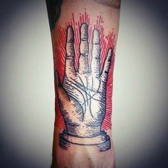 Red And Black Ink Woodcut Hand Tattoo For Guys On Forearm
