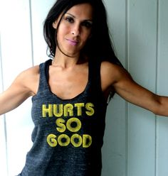 Hurts So Good. Eco-Heather Racerback Tank.  Light Black, Size MEDIUM. $30.00, via Etsy.