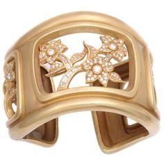 KIESELSTEIN-CORD Diamond  Floral Filigree Green Gold Cuff