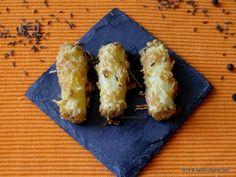 Crochete de cartofi la cuptor. Crochete rumene din bucatele de cartofi cruzi. Arata ca niste degetele (Potato Fiingers). Se coc in cuptor - nu se prajesc Cheddar Cheese, Foodies, Side Dishes, Potatoes, Crochet, Fingers, Cheddar, Potato, Ganchillo