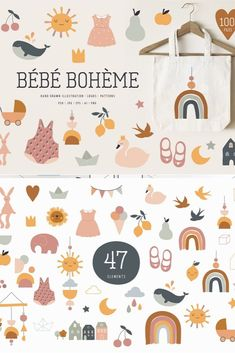Bebe Boheme collection This collection is all about little bohemian folks, vintage dreams and childhood. Hand drawn illustrations, delicate icons, rainbows and ice cream, shapes and fruits in retro ar Kids Store, Baby Store, Baby Fruit, Fruit Logo, Baby Room Colors, Fruits For Kids, Baby Illustration, Bohemian Baby, Hand Logo
