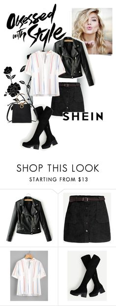 """""""Shein Pleated Detail Printed Blouse"""" by katarinaf ❤ liked on Polyvore featuring StreetStyle, NightOut, rock, autumn and shein"""