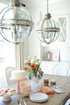 Restoration Hardware Victorian Hotel Pendant lights - find the look for less on the blog (image via Monika Hibbs)