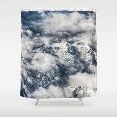 Shower Curtain, Clouds, Mountains, Blue, White, Midnight Blue, Nature, Fine Art Photography, 71x74 inches, Exceptional Quality, fPOE