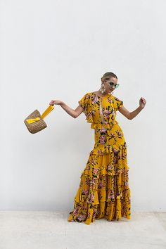 Blair Eadie wearing a tiered and ruffled floral dress by Johanna Ortiz and carrying a Pamela Munson basket bag // Earrings by Jennifer Behr // Click through to Atlantic-Pacific for more warm weather style Fashion Sites, Fashion Outfits, Blair Eadie, Atlantic Pacific, Summer Outfits, Summer Dresses, Asos Dress, Mode Hijab, Mellow Yellow