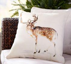 Deer Print Outdoor Pillow #potterybarn