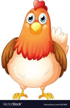 A big fat hen Royalty Free Vector Image - VectorStock , Cartoon Birds, Baby Cartoon, Cartoon Kunst, Cartoon Art, Barn Animals, Farm Theme, Stone Crafts, Fabric Painting, Frames On Wall