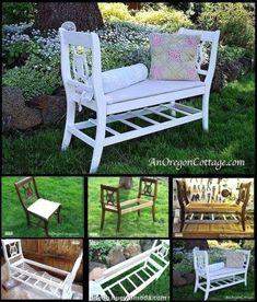 Old chair bench Diy Furniture Table, Outdoor Garden Furniture, Refurbished Furniture, Repurposed Furniture, Furniture Makeover, Outdoor Decor, Repurposed Wood, Furniture Vintage, Chair Bench