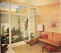 1960s Living room w/ courtyard