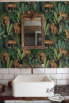 Dark floral wallpaper, Leopard, Jungle w. Wallpaper Toilet, Paper Wallpaper, Dark Wallpaper, Leopard Wallpaper, Hello Wallpaper, Wild Animal Wallpaper, Wildlife Wallpaper, Estilo Tropical, Jungle Bathroom