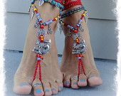 Fierce DRAGON BAREFOOT sandals RED Anklets crochet Gypsy Sandals Wanderlust barefoot jewelry Toe Anklet wrap sandal Chinese Zodiac GPyoga