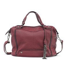 "Jessica Simpson ""Sienna"" Pebbled Faux Leather Satchel"