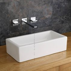 Treviso Modern Counter Top Rectangular Sink Basin 496 mm by 245 mm