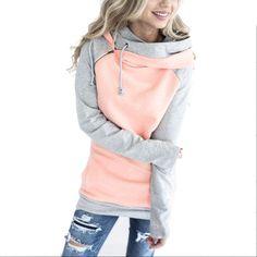 Oversize Толстовки кофты Для женщин пуловер с капюшоном женский лоскутное двойным капюшоном Толстовка с капюшоном осеннее пальто теплая толстовка xxxl купить на AliExpress