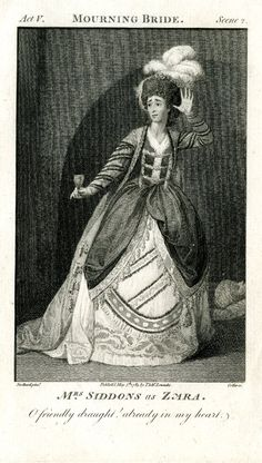 Portrait of Sarah Siddons as Zara in William Congreve's 'The Mourning Bride'; whole length, standing, her left arm raised to her ear in a listening gesture, a cup of poison in her right hand; looking to the left; wearing feathers in hair, and cloak over embroidered, voluminous, gown; after Stothard; illustration to Lowndes' 'New English Theatre'.  1783 Etching and engraving