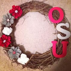 My Ohio State wreath I made for Angela's birthday!