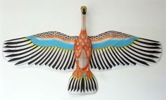 Crane hand-painted kite, gorgeous wall art