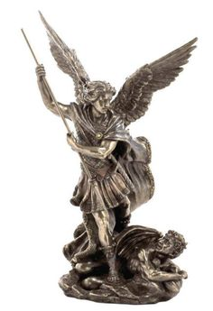 St Michael Archangel Slaying Demon w Spear Statue Sculpture Figurine | eBay