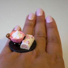 Kawaii Cute Japanese Miniature Food Ring  Hot by fingerfooddelight, $10.00