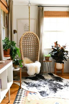Erin Kelly Pittsburgh Craftsman Home Tour rattan hanging chair in a cozy bohemian living room This image has get. Bohemian Living Rooms, Cozy Living Rooms, My Living Room, Living Room Chairs, Living Room Decor, Bohemian Apartment, Decor Room, Small Apartment Living, Room Decorations