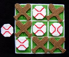 Tic-Tac-Toe Game Baseballs by gailscrafts on Etsy Plastic Canvas Coasters, Plastic Canvas Crafts, Plastic Canvas Patterns, Needlepoint Patterns, Perler Patterns, Quilt Patterns, Felt Crafts, Crafts To Make, Tent Stitch