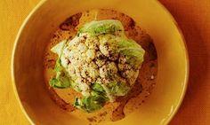 Whole roast cauliflower with cumin, sumac and lemon