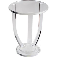 Clear acrylic side table round top with pedestal base.