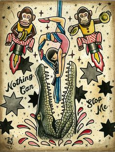 Original tattoo design by DEMI { Nothing can stop me} water color, old school, musical monkey, alligator, Crocodile