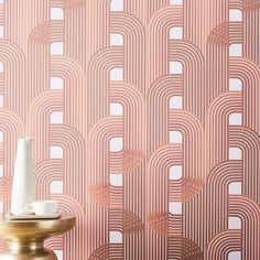 Drop It Modern Raceway Wallpaper, Amber, 10'H x 28W