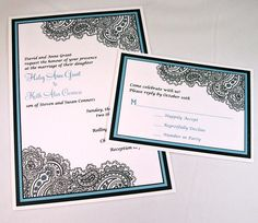 Paisley Ethnic Wedding Invitations  Teal Black and by dearemma, $1.00
