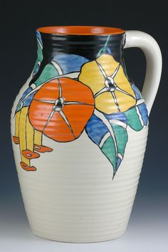 Clarice Cliff Lotus Jug - Latona Bouquet Pattern - Bizarre marked - 1930 - 300mm high