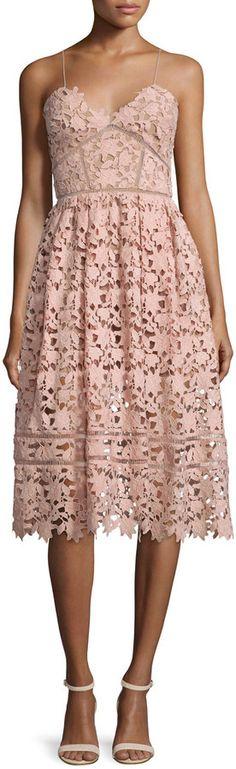 Self Portrait Azaelea Guipure-Lace Illusion Dress, Pink