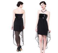 SOMETHINGNAVY SEQUINED STRAPLESS HIGH LOW DRESS BLACK MEDIUM  $160 value