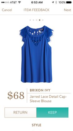 Stitch Fix - Brixon Ivy Jarred Lace Detail Cap Sleeve Blouse