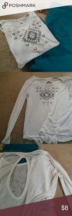 Shirt Long sleeve thin see through material. Open back. Has been gently used. Only flaws are a could pilly things. Charlotte Russe Tops Tees - Long Sleeve