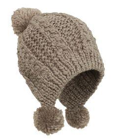 Camel Pom-Pom Earflap Beanie #zulily #zulilyfinds
