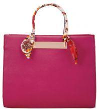 eb496dd696 UKFS Scarf Handle Design Leather Tote Shoulder Handbag - Plum
